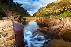 Weribee River_MG_8601-2_AH-G_Flickr (Andrewhg photo) Tags: landscape victoria australia melbourne bacchus marsh werribee gorge water flowing long exposure light arid rock rocks rocky waterfall weir 5d mark ii canon eos tripod 10km walk bushfire walking exploration explore aussie aus reflections patchy sunlight unique composition outdoors nature environment change photography photograph