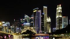 Singapore - CBD zone (mccrya) Tags: singapore skyscrapers long exposure modern asia water night bridge lights reflections