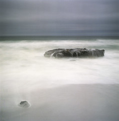 A certain spirit, or at least a sense thereof (Zeb Andrews) Tags: hasselblad film 6x6 oregon longexposure yachats smeltsands ndfilter hasselblad500c filmisnotdead pacificnorthwest oregoncoast pacificocean coast beach landscape square sea storm surf ocean color kodakportra400