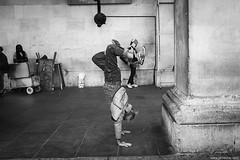I'll do this and you'll give me money.. (jrockar) Tags: streetphotography documentary photography street london coventgarden man headstand standing head guy performer candid moment instant snap shot decisive bw mono blackandwhite x100s fuji prime lens standard warmup job performing performance actor amusement