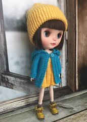 """New colour"""" knitted turquois blue coat with yellow dress """" .. will add this new colour at my etsy store tomorrow.. welcome to visit my etsy store.. thanksss friends .."""