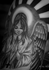 Tattoo Angel Wings (Sue_Shaw) Tags: tattoo inkart inked angel angelwings wings halo canon canoneos monochrome blackandwhite