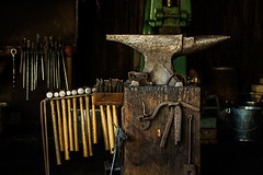 Tools of the Trade (Prestidigitizer) Tags: buildings burnabyvillagemuseum vancouver blacksmith smithy forge anvil hammers tools antique vintage oldfashioned pentaxk3 pentaxda50135mm
