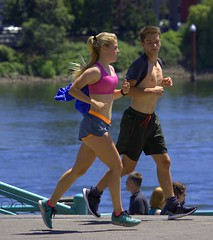 On The Run (swong95765) Tags: run running jog jogging guy gal girl female river exercise together fit