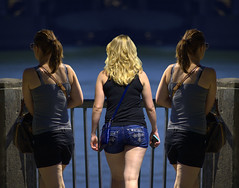 Three Way (swong95765) Tags: women females ladies blonde river twins