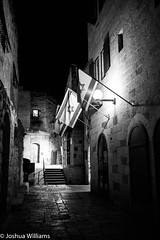 DSCF9687 (Joshua Williams' Photography) Tags: jerusalem israel bw night oldcity