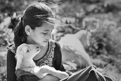 Love in the mountain. (Tapas Ghosh Photography) Tags: love care happiness friendship blackwhite streetphotography girlchild playing himachal mountan cute together baby amazing awesome goodtime moments candid portrait kid beauty animal animallovers