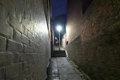 Alleyway at Night (crashcalloway) Tags: alleyway passageway hastings highstreet oldtown eastsussex sussex 1066country night dark streetlight walls brickwalls