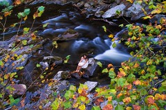 As long as the river flows (Catch the dream) Tags: smokymountains girl river fallcolors waterfall longexposure nature rocks tennessee