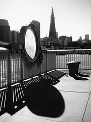 Pier 15 (Feldore) Tags: pier 15 san francisco shadows street transamerica pyramid mono view city california feldore mchugh em1 olympus 1240mm railings