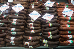 20160916 Budapest, Hungary 03143 (R H Kamen) Tags: budapest easterneurope hungary largegroupofobjects abundance food foodanddrink foodmarket inarow label pricetag rhkamen salami sausages traditionallyhungarian variety
