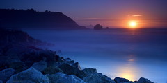 [Pacific Ocean Sunset] (miltonsun) Tags: pacificocean sunset rockawaybeach pacifica northerncalifornia shore longexposure highway1 seascape bay ngc bayarea wave ocean bluehour