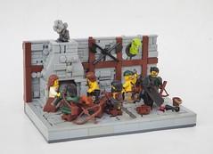 Brawl in the Inn (W. Navarre) Tags: lego brawl outlaw snake head chimney chimbly smoke fire grate table fight inn tavern