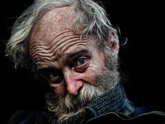 The Stranger (Ales Dusa) Tags: man portrait face streetportrait streetshot beard canon5d flickrtravelaward onblack wrinkle