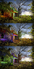 RGB Facade Triptych III (Notley) Tags: rural missouri notley notleyhawkins 10thavenue httpwwwnotleyhawkinscom missouriphotography notleyhawkinsphotography lightpainting bluelight greenlight blue green night nocturne 光绘 光繪 lichtmalerei pinturadeluz ライトペインティング प्रकाशपेंटिंग ציוראור اللوحةالضوء abandoned sky longexposure november ruralphotography trees chartitoncountymissouri facade fall windows 2016 red redlight rgb outdoor serene building architecture foilage triptych tio triad