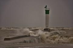 Flooded Pier (evanlochem) Tags: great lakes autumn fall november gale storm high wind surf waves seiche lake huron blue flag beach grand bend ontario canada
