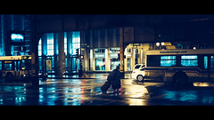 Chicago Transit (One_Penny) Tags: america canon6d chicago city illinois photography town travel unitedstates urban usa night rain woman bus traffic lights colors cinematic street cinemascope intersection people reflection wet transit publictransport film movie tones cinematicgrading cinema