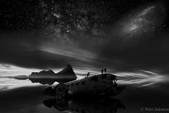 lost somewhere bnw (petrisalonen) Tags: lost lake space stars milkyway galaxy children child dog plane landscape sunset sunrise