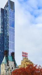 A skyscraper above Columbus Circle, from Central Park, New York City (peripathetic) Tags: 2016 5d 5dmk3 5dmkiii america canoneos5dmk3 nyc newyorkcity us usa unitedstates canon colbuscircle essexhouse manhattan manhattanisland newyork timewarnercenter