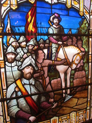 French explorers, historic scene in stained glass, Bar Harbor, Maine (Paul McClure DC) Tags: architecture maine newengland stainedglass historic barharbor mountdesertisland hancockcounty aug2015