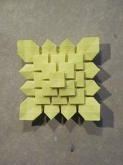 Clover field _ 4 stages (S. Fujimoto) (Helyades) Tags: paper square grid origami fold grille clover papier tessellation carré pli fujimoto pliage