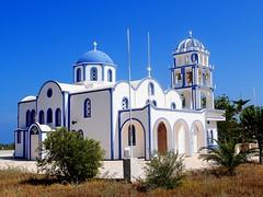 Agios Nektarios church (mujepa) Tags: blue church bleu santorini orthodox orthodoxe glise santorin kamari nektarios