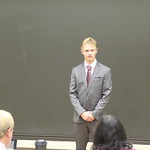 A student giving a presentation in Phillips Lecture Hall.