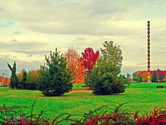 (Alin B.) Tags: park november autumn fall rusty romania toamna brancusi parc endlesscolumn tgjiu coloanainfinitului coloanafarasfarsit alinbrotea