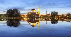 View and reflection of Assalam Mosque blue hour. (rizalfaridz) Tags: blue lake reflection tourism clouds landscape design background minaret muslim religion mosque east malaysia dome masjid islamic flickrsbest serenityasia