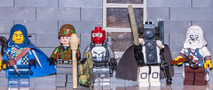 BrickCon 2015 Battle theme sigfig close-ups (SEdmison) Tags: photoshoot lego battle convention figure lineup minifigure 2015 sigfig brickcon signaturefigure signatureminifigure brickcon2015