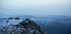 On the edge (Bullpics) Tags: blue winter light people house mountain snow norway landscape cabin nikon outdoor horizon edge bluehour bergen ulriken cliffhanger veiw d7100