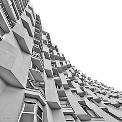 living spaces (freakingrabbit) Tags: barcelona city windows sky urban bw white house black building monochrome architecture square concrete grey spain flats barceloneta curved catalan appartements catalania cataluñacatalunya cmima
