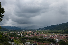 Incoming storm, Freiburg (stealthflower) Tags: 2016 blackforest europe freiberg germany schlossberg travel landscape mountains panorama town freiburg
