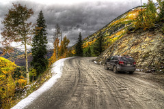 Marble Quarry Road (Serithian) Tags: hdr high dynamic range sony alpha a6000 photomatix fall colors aspens marble crystal colorado rocky mountains mill river town clouds snow leaves autumn