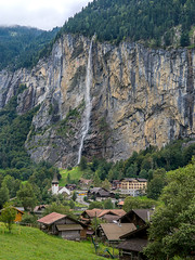 Staubbach Falls (clarsonx) Tags: staubbachfalls luaterbrunnen switzerland swiss waterfall cliff mountain alps alpine valley village berneseoberland overcast cloudy water staubbachflle