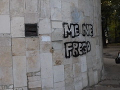 """Me ne frego"" ( Teatro di Opera di Kharkiv) (GrusiaKot) Tags: ucraina ukraine україна украина travelling autumn fascismo menefrego graffiti kharkiv kharkov theater scritta muro wall decay"