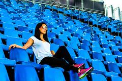 In a row - Rio2016 (H_Lopes) Tags: inarow brazil brasil riodejaneiro rj rio rio2016 olympic olimpíada wow games jogos blue azul menina girl óculos glasses adventure portrait city stadium estádio esporte sport contemplação people new engenhão sequência cadeiras arquibancada