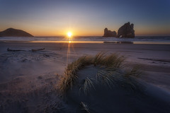 Staying (artjom83) Tags: 2015 landscape nz newzealand island south puponga tasman neuseeland wharariki beach rocks seastack seascape seaside pacific sunset sunrise sky sand rays sunstar windy winter light downunder