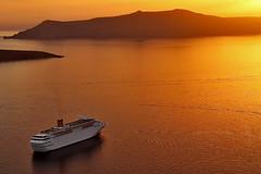 Santorini caldera sunset (Benjaminio) Tags: sunset cruise santorini sun ship caldera greece sea holiday