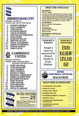 Birmingham City vs Cambridge United - 1991 - Back Cover Page (The Sky Strikers) Tags: birmingham city cambridge united leyland daf cup southern area st andrews the only official matchday magazine one pound road to wembley