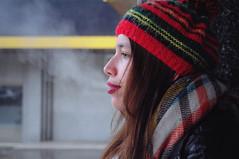 October (Sergio Outcast) Tags: smoke girl cigarettes autumn cold blue teen redlips blueeyes retro vintage tumblr nikon