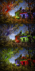 RGB Facade Triptych (Notley) Tags: rural missouri notley notleyhawkins 10thavenue httpwwwnotleyhawkinscom missouriphotography notleyhawkinsphotography lightpainting bluelight greenlight blue green night nocturne 光绘 光繪 lichtmalerei pinturadeluz ライトペインティング प्रकाशपेंटिंग ציוראור اللوحةالضوء abandoned sky longexposure november ruralphotography trees chartitoncountymissouri facade fall windows 2016 red redlight rgb outdoor serene building architecture foilage triptych tio triad