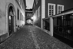 Historical sidewalk (safris76) Tags: sidewalk czech hradeckralove night city light europe historical architecture pavement lamp window old blackandwhite bw darkness historicalbuilding longexposure lowlight travel