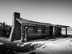 Cabin at Ghost Ranch (Mabry Campbell) Tags: 2016 february ghostranch h5d50c hasselblad mabrycampbell newmexico usa unitedstatesofamerica blackandwhite cabin commercialphotography countryside fineart fineartphotography house image landscape logcabin monochrome photo photograph photographer photography ranch snow winter f11 february52016 20160205campbellb0000511 24mm sec 100 hcd24