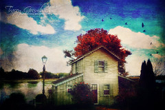 Chesapeake City Cottage (These Nine Acres) Tags: cottage water lake river mystical magical chesapeakecity travel digitalart nineacresdesigns traceygrumbach autumn distressed photomanipulation iphoneography