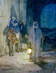 Henry Ossawa Tanner — Flight Into Egypt (detail), 1923. Painting: oil on canvas, 29 x 26 in.. Metropolitan Museum of Art, New York.  Henry Ossawa Tanner's eloquent Flight into Egypt is a canonical mature work by the increasingly esteemed American artist, (ArtAppreciated) Tags: fineart painting blogs tumblr artblogs artappreciated artoftheday artofdarkness artofdarknessco artofdarknessblog henry ossawa tanner metmuseum flight egypt african american artists biblical art holy family joseph new testament christianity christian themes bible narrative life christ detail details symbolism religious impressionism date1923 1920s history