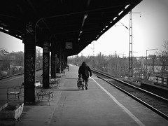 Waiting for a Train (boti_marton) Tags: budapest hungary magyarorszg kbnyaals trainstation people bw blackwhite alone waiting city cityscape road travel europa panasonic dmc lz20 lumix