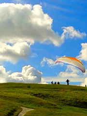 Up (revalec) Tags: landscape outdoors outside countryside hill people perspective sky clouds paragliding flying cameraphone snapshot