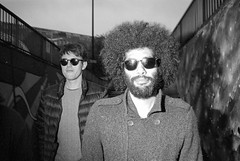 Cool Cats (Shot In The Street) Tags: streetphotography hp5 ilfordhp5 street bw 2016 film zombie canoneos3 analogue candid afro sunglasses bristol filmisnotdead blackandwhite black ilford bristolzombiewalk2016 white mono monochrome