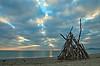 La cabane sur la plage. (sergecos) Tags: leverdesoleil sunrise sunset matin morning plage beach mer sea méditerranée mediterranean playa mar nikon d7000 rivage côte shore sky clouds nuages